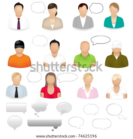 12 People Icons With dialogue Bubbles, Isolated On White Background - stock photo