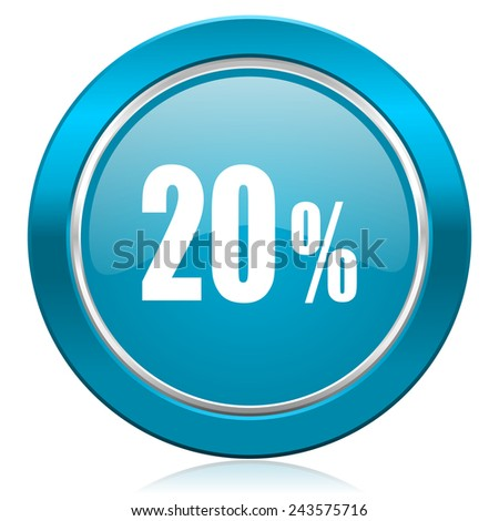 20 percent blue icon sale sign