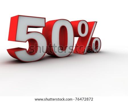 50 percent 3d - stock photo