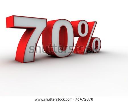 70 percent 3d - stock photo