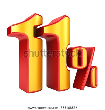 11 percent 3D letters on a white background