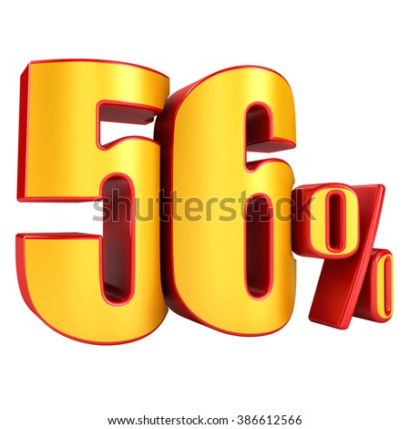 56 percent 3D letters on a white background