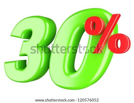 30 percent. 3d render illustration isolated on white background - stock photo
