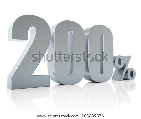 200 percent, 3D Rendering - stock photo