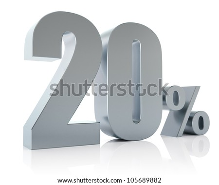 20 percent, 3D Rendering - stock photo
