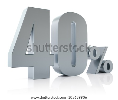 40 percent, 3D Rendering - stock photo