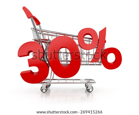 30 percent discount and shopping cart. sale concept. 3d render - stock photo