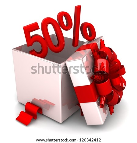 50 percent discount for free! opened gift box, with a red ribbon like a present. over white background 3d illustration.