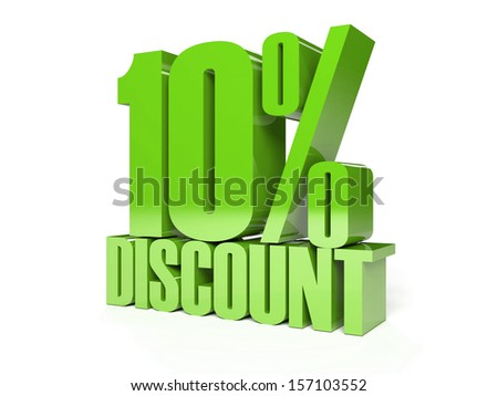 10 percent discount. Green shiny text. Concept 3D illustration. - stock photo