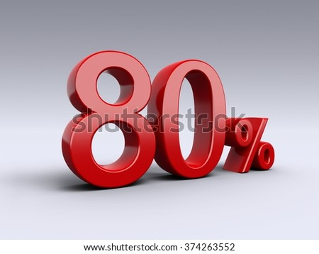 80 percent discount on light background. Sale, percentages, special offer. 3D Numbers in red.