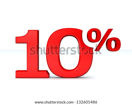 10 percent discount symbol RED color isolated white background. 3d illustration and business concept - stock photo