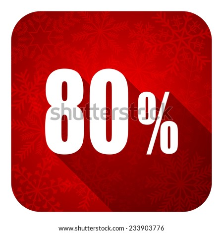 80 percent flat icon, christmas button, sale sign  - stock photo