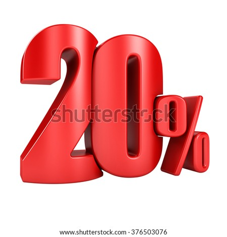 20 percent in red letters 3d render on a white background.