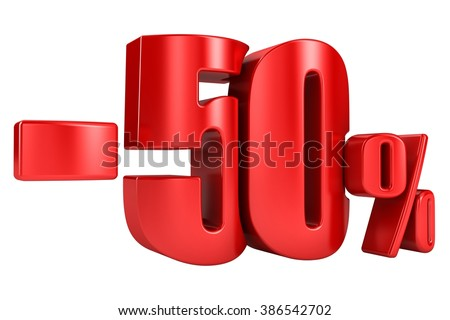 -50 percent in red letters on a white background. 3d render. - stock photo