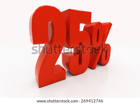 25 percent off. Discount 25. 3D illustration - stock photo