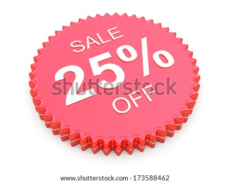 25 Percent OFF Discount Label on white background - stock photo