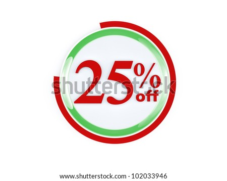 25 percent off glass isolated on white background