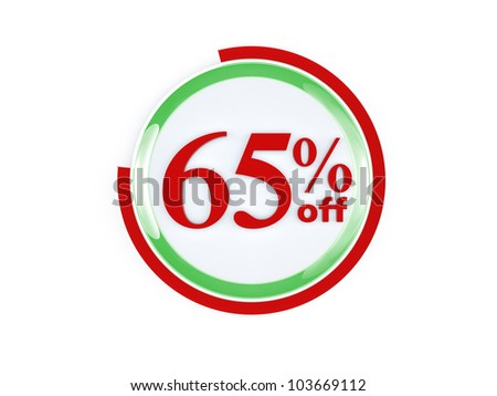 65 percent off glass isolated on white background - stock photo