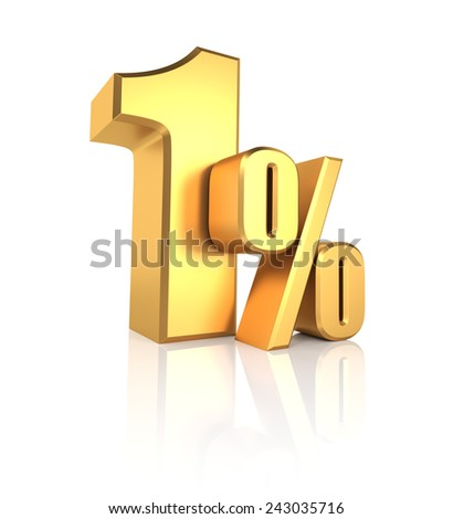 1 percent off. Gold metal letters on reflective floor. White background. Discount 3d render - stock photo