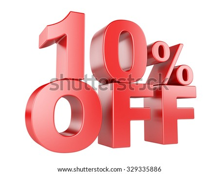 10 percent off icon isolated on white background.