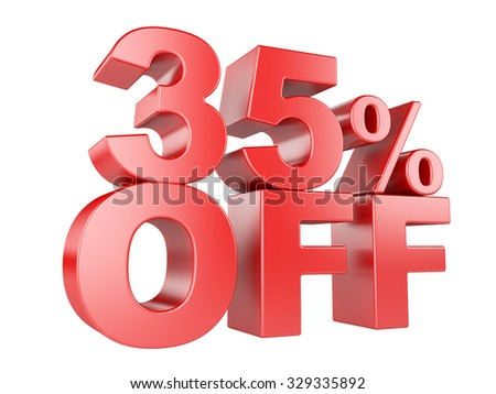 35 percent off icon isolated on white background. - stock photo