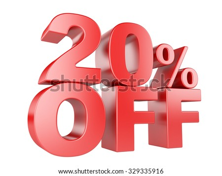 20 percent off icon isolated on white background.