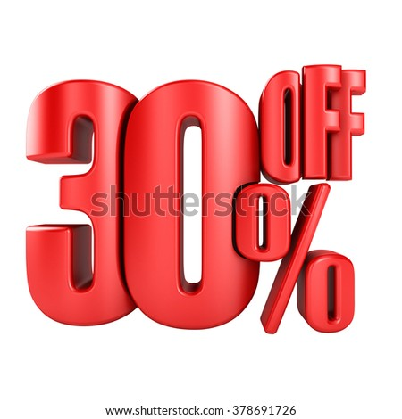 30 percent off in red letters 3d render on a white background. - stock photo