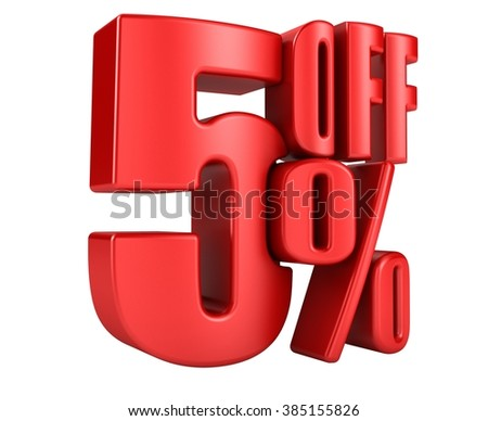 5 percent off in red letters 3d render on a white background - stock photo