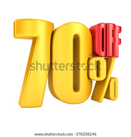 70 percent off in yellow letters 3d render on a white background.