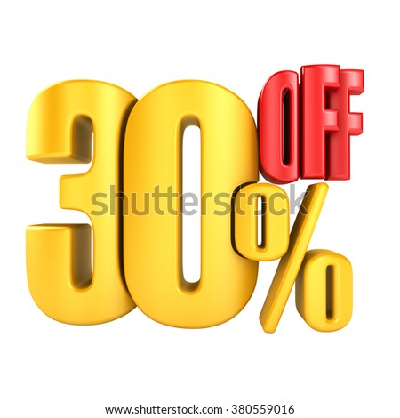 30 percent off in yellow letters 3d render on a white background. - stock photo