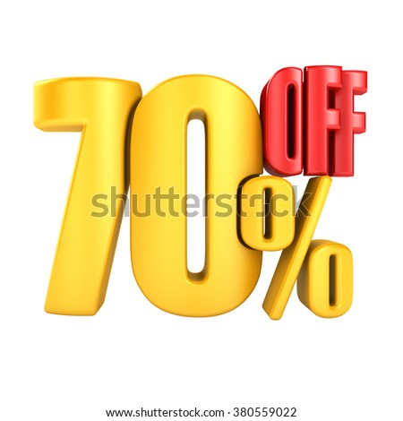 70 percent off in yellow letters 3d render on a white background. - stock photo