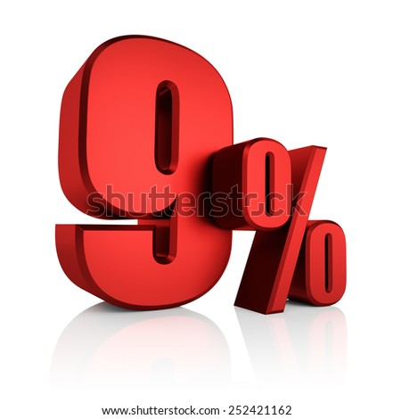 9 percent off on white background. 3d render red discount