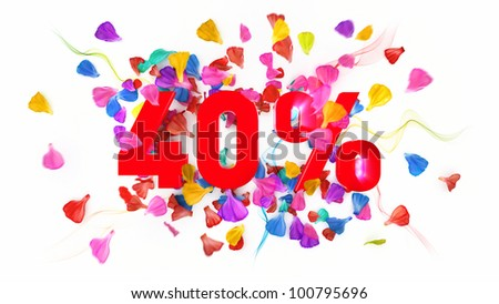 40 percent off on white isolated background full with colored petals - stock photo