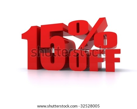 15% Percent off promotional sign