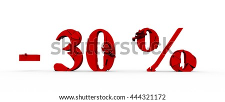 30 percent off, sale background, object 3D