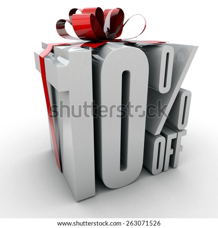 10 Percent off sign wrapped up with red ribbon and bow  - stock photo