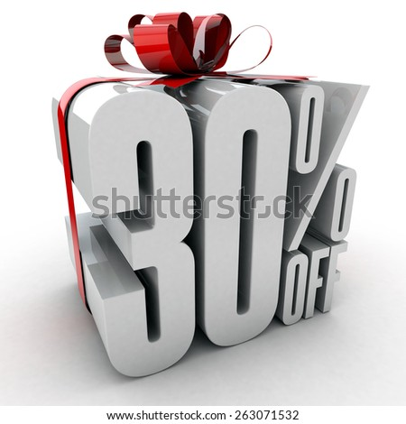 30 percent off sign wrapped up with red ribbon and bow - stock photo