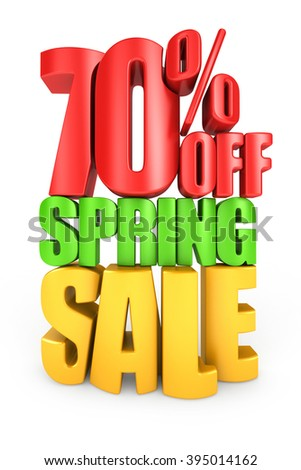 70 percent off spring sale 3d text isolated over white background - stock photo