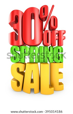 30 percent off spring sale 3d text isolated over white background - stock photo