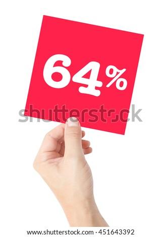 64 percent on white - stock photo