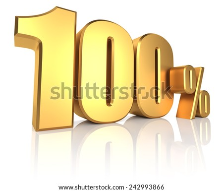 100 percent on white background. 3d render golden metal discount - stock photo