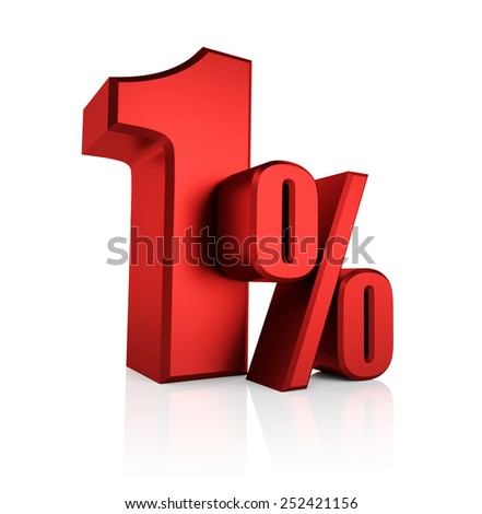1 percent on white background. 3d rendering red discount - stock photo