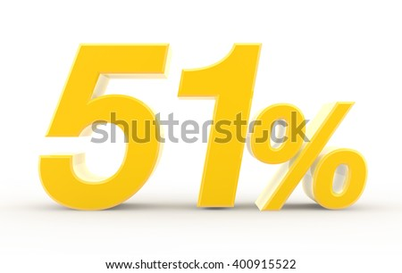 51 percent on white background illustration 3D rendering