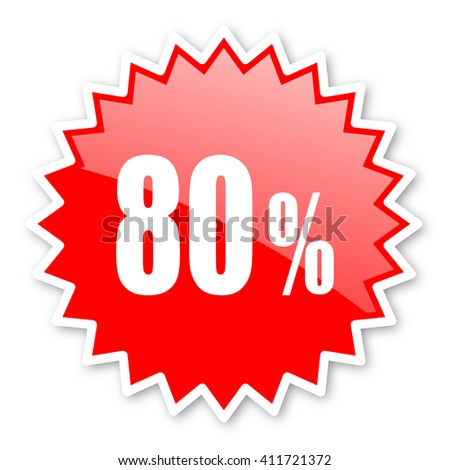 80 percent red tag, sticker, label, star, stamp, banner, advertising, badge, emblem, web icon - stock photo