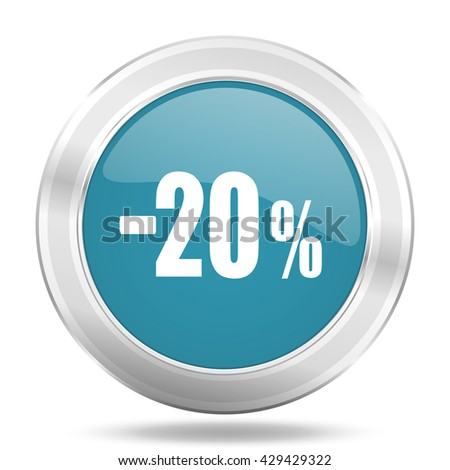 20 percent sale retail icon, blue round metallic glossy button, web and mobile app design illustration