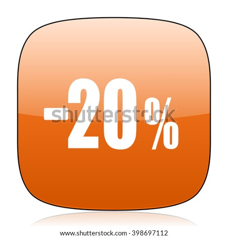 20 percent sale retail orange square glossy web icon