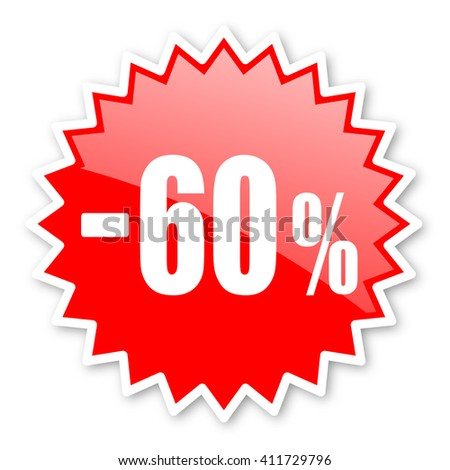 60 percent sale retail red tag, sticker, label, star, stamp, banner, advertising, badge, emblem, web icon - stock photo