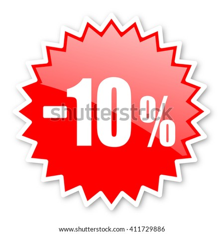 10 percent sale retail red tag, sticker, label, star, stamp, banner, advertising, badge, emblem, web icon - stock photo