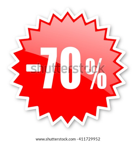 70 percent sale retail red tag, sticker, label, star, stamp, banner, advertising, badge, emblem, web icon - stock photo