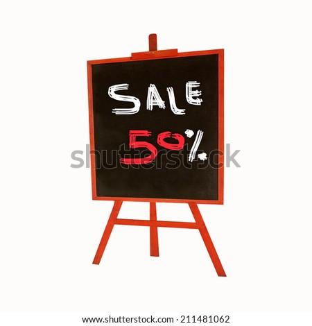50-percent sale title written on standing board - stock photo
